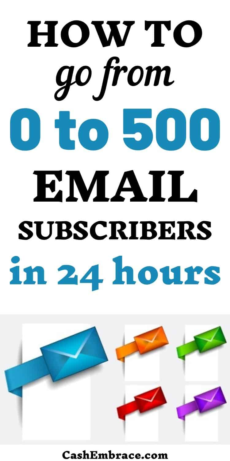 how to grow your email list from zero to 500 subscribers in 24 hours