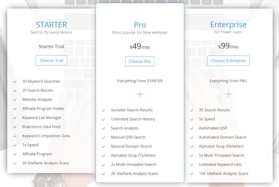 jaaxy keyword research tool review - cost of the product