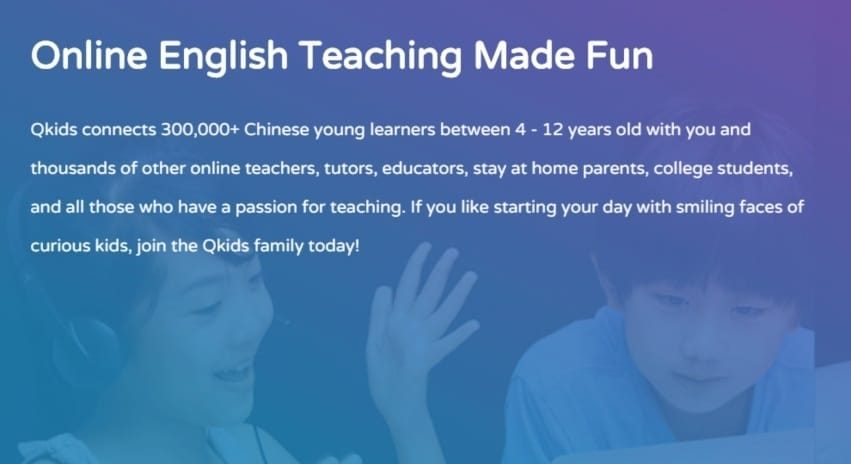 teach English online from home with Qkids